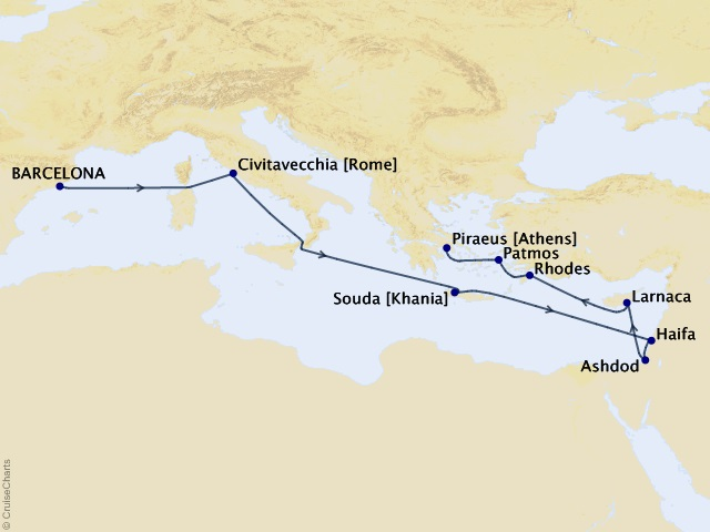 12-night Monumental Holy Lands Cruise Map