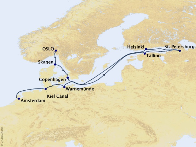 13-night Baltic and St. Petersburg Voyage Map