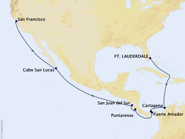 15-night Panama Canal – Ocean to Ocean Cruise Itinerary Map