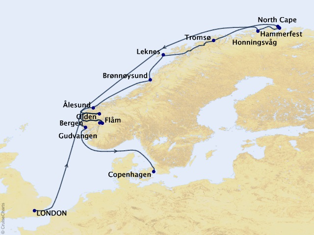 14-night Northern Europe Cruise Map