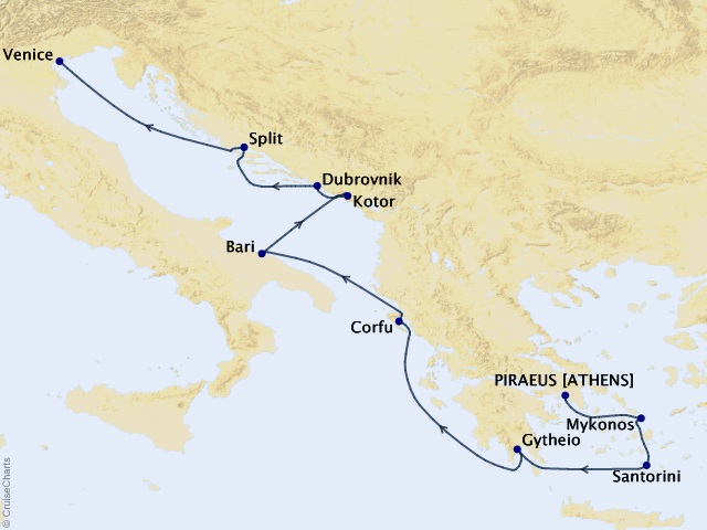 10-night Stunning Grecian Shores Cruise Map