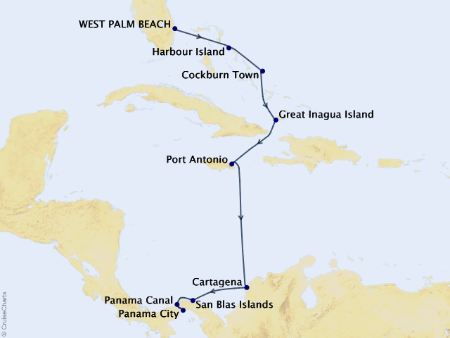 9-night Boutique Caribbean and Panama Canal Cruise Map