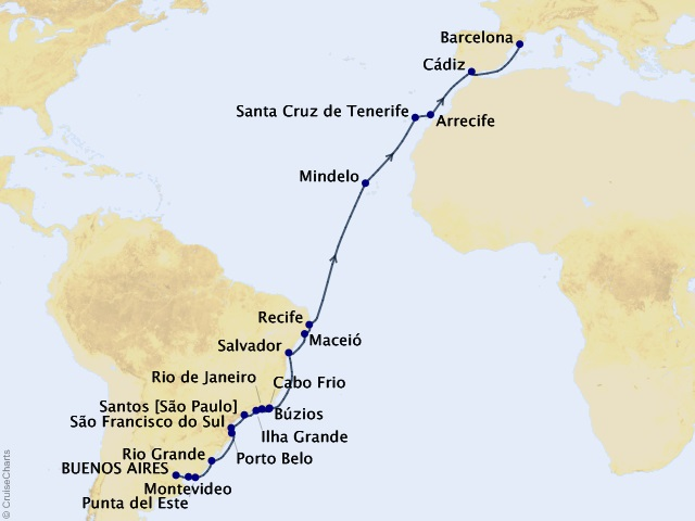 30-night Cape Verde & the Canary Islands Cruise Map