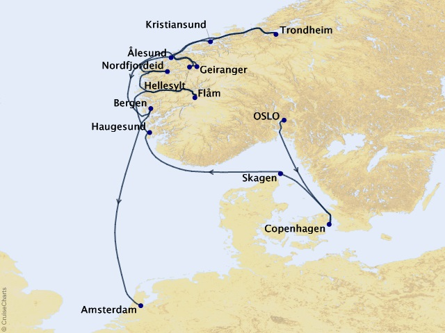 12-night Norwegian Dream Cruise Itinerary Map