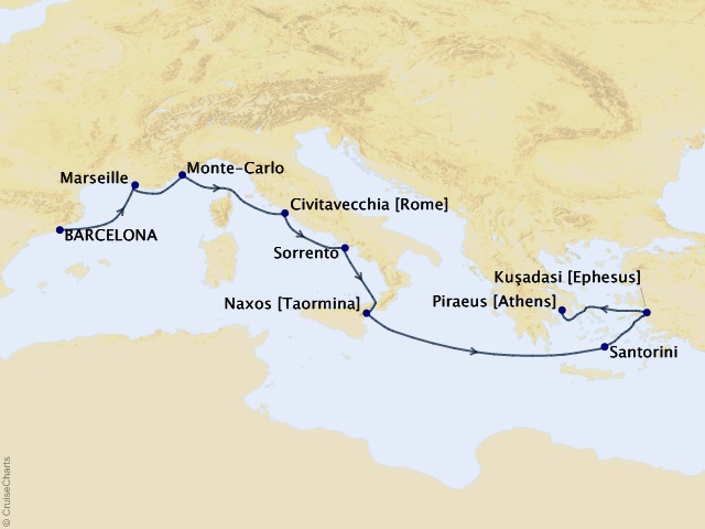 9-night Return to Antiquity Cruise Map