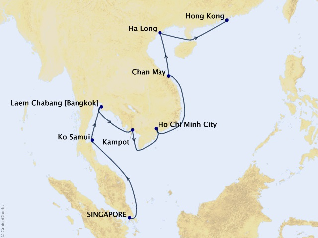 14-night Southeast Asia Sojourn Voyage Itinerary Map