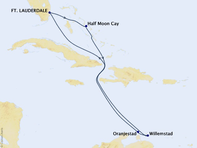 7-night Southern Caribbean Cruise Map