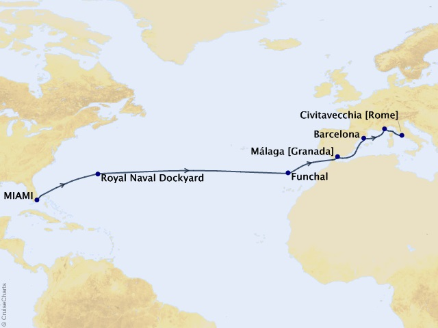 15-night Awe of the Atlantic Voyage Map