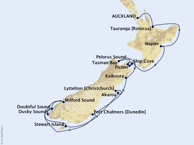 12-night The Remote Coasts of New Zealand Expedition Map