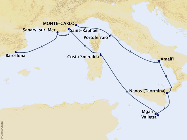 10-night Yachtsman's Mediterranean Cruise Map