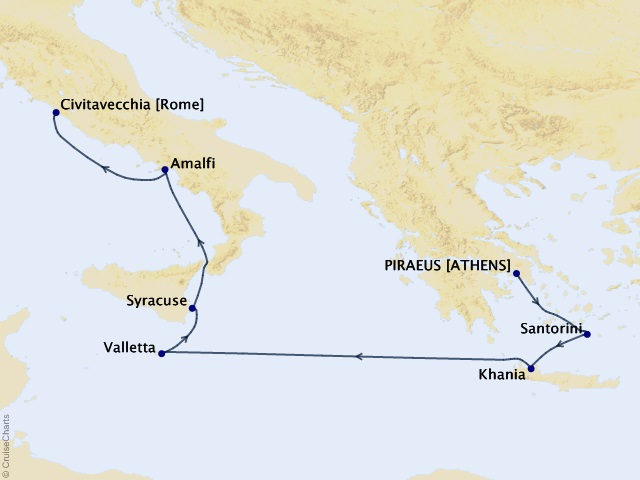 Parthenon to Piazzas Cruise Map