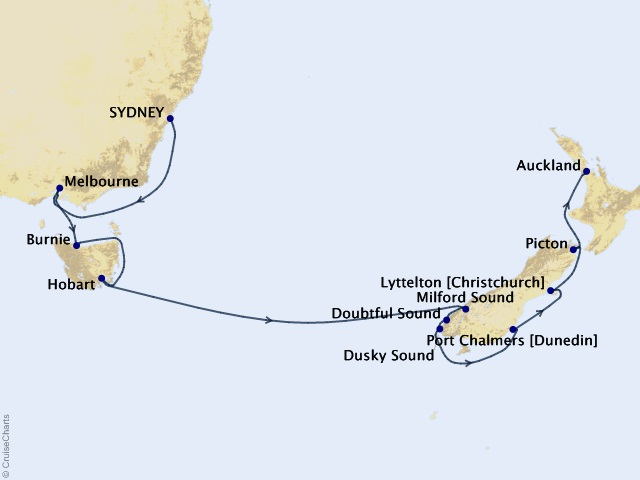 14-night Australia & New Zealand Cruise Map