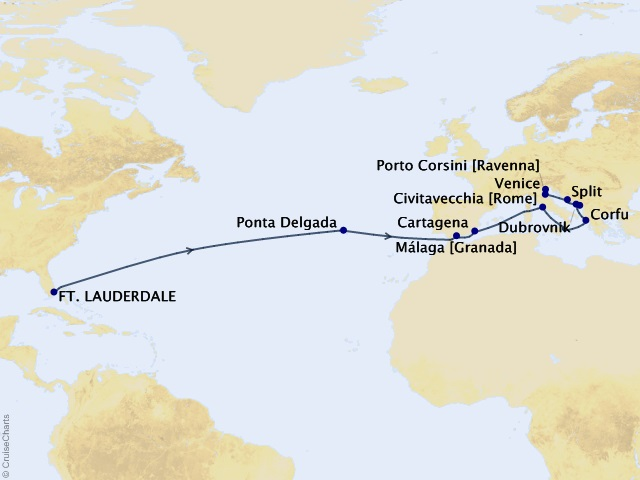 21-night Passage to Rome & Adriatic and Ionian Gems Cruise Map