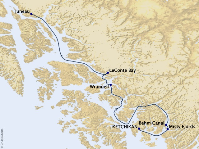 5-night Wild Alaska Escape – Juneau to Ketchikan Cruise Itinerary Map