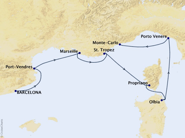 7-night Beyond the Côte Vermeille Cruise Map