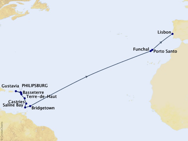 18-night Yachtsman's Caribbean & Atlantic Sunsets Cruise Map