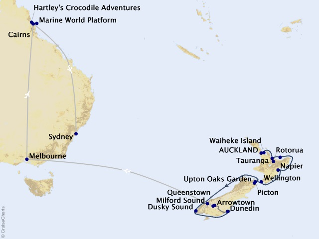 19-night Cruising Down Under – Westbound Cruise/Land Package Map