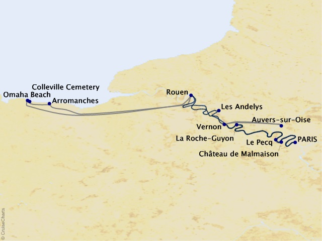 7-night Paris & the Heart of Normandy Cruise Map