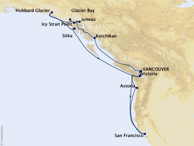 17-night Alaska Cruise Map