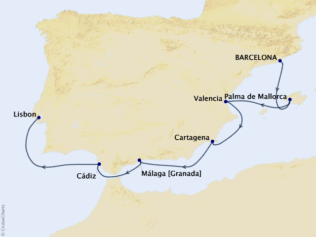 7-night Iberian Cruise Map