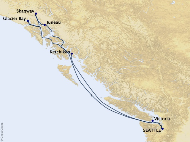 7-night Inside Passage (with Glacier Bay National Park) Cruise Itinerary Map