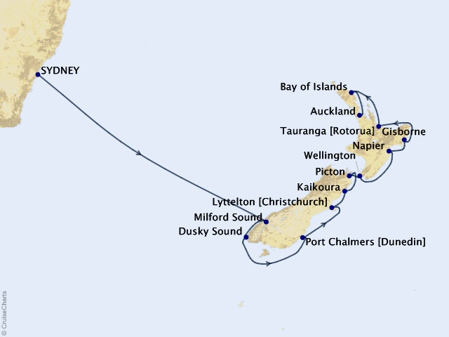 16-night New Zealand Intensive Voyage Map