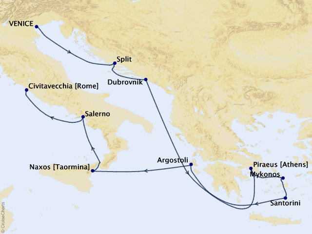 10-night Ionian Immersion Voyage Map