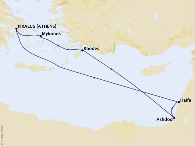 7-night Greek Islands & Israel Cruise Itinerary Map