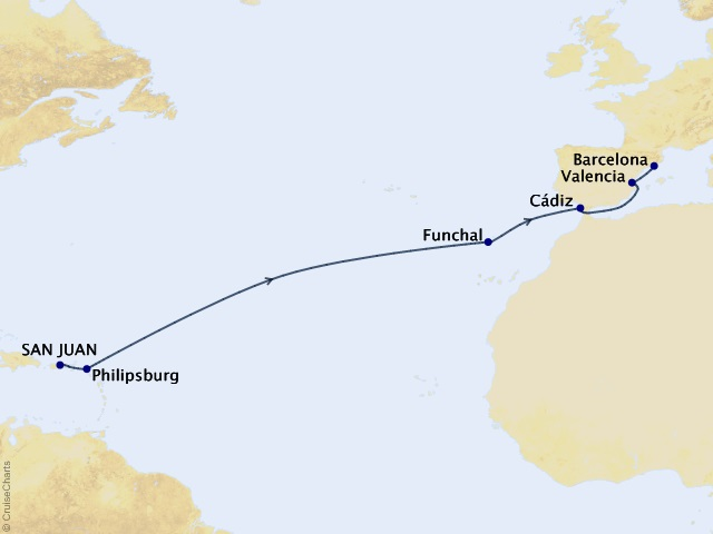 13-night West Indies to Spain Cruise Map
