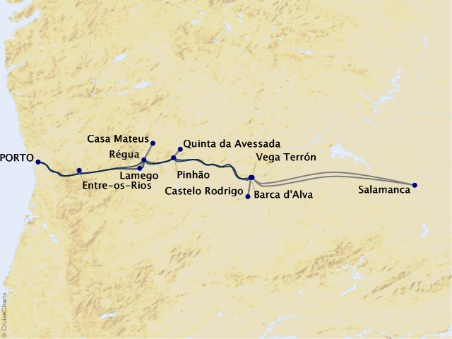 7-night Enticing Douro Cruise Map