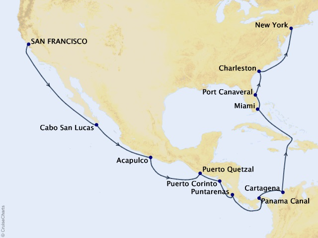 Panama Canal Connection Voyage Map