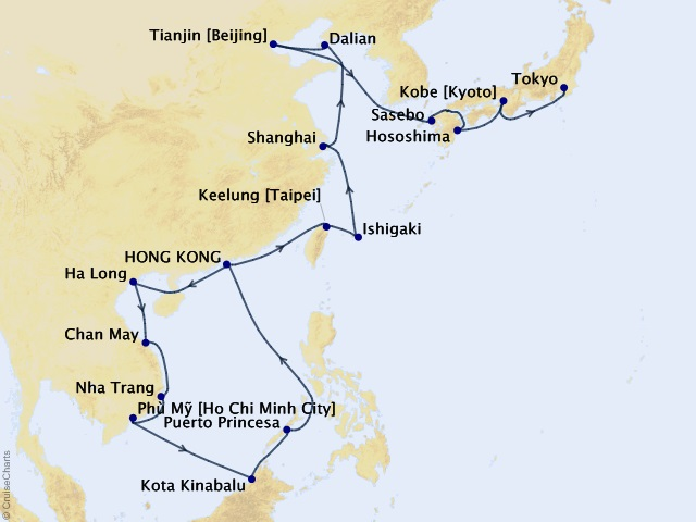 28-night The Best of Asia Cruise Map