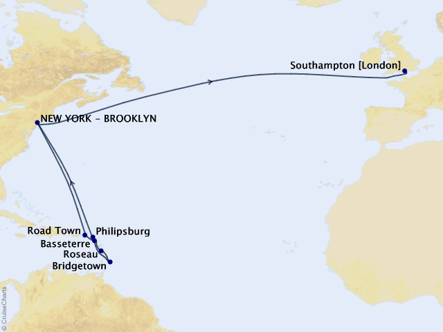 19-night Caribbean Celebration and Transatlantic Crossing Cruise Itinerary Map