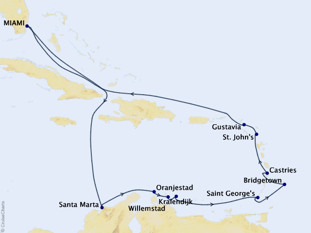 14-night Tropical Breezes Voyage Map