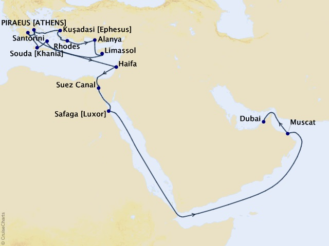25-night Middle East & Mediterranean Cruise  Map