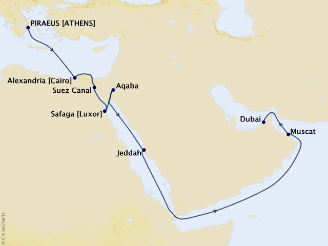 17-night Middle Eastern Cruise Map