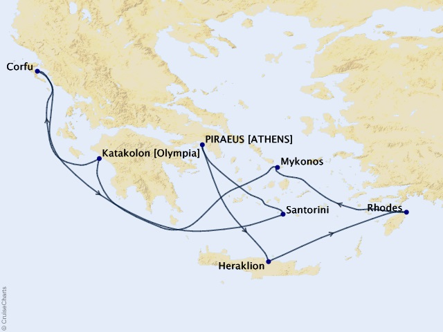 7-night Greek Isles from Athens Cruise Map