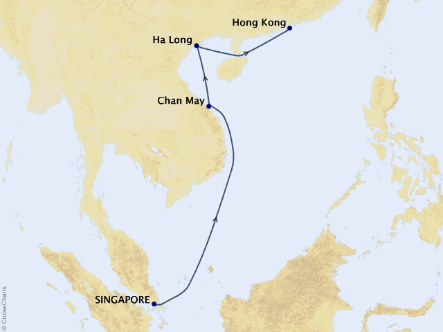 7-night Singapore to Hong Kong Cruise Map