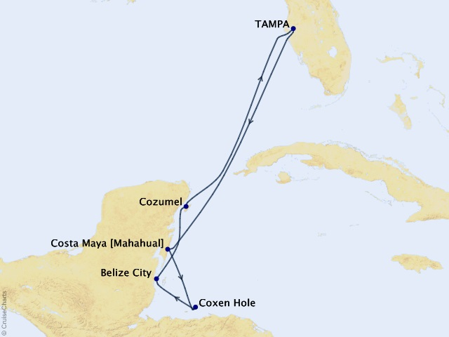 7-night Western Caribbean Cruise Itinerary Map
