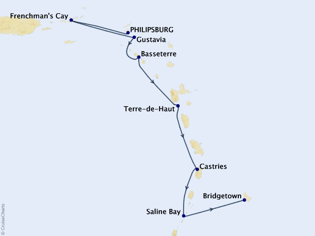 7-night Classic Caribbean Yacht Harbors Cruise Map