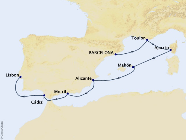 7-night Southern Europe Sojourn Voyage Map