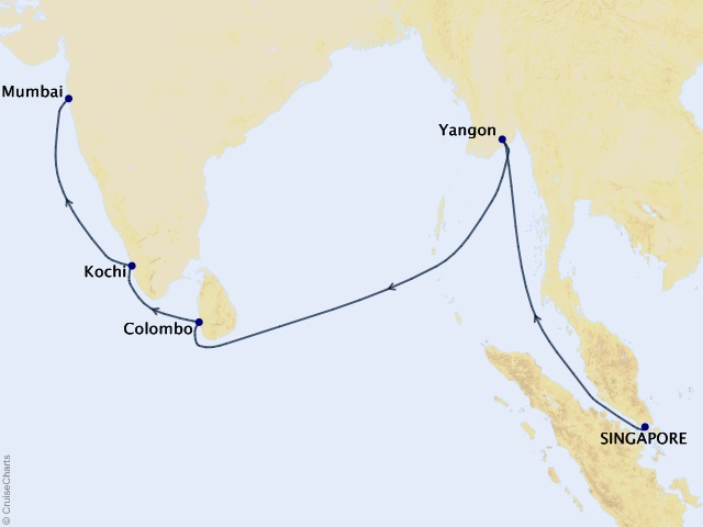 15-night Asia and India Cruise Map