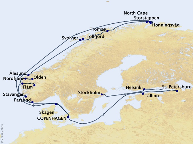 21-night Scandinavian Gems & St. Petersburg Cruise Map