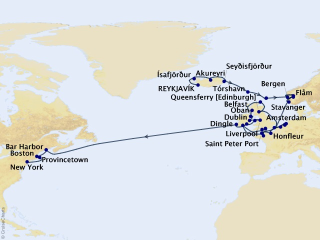 47-night Grand Journey – Majestic Europe to America Cruise Map