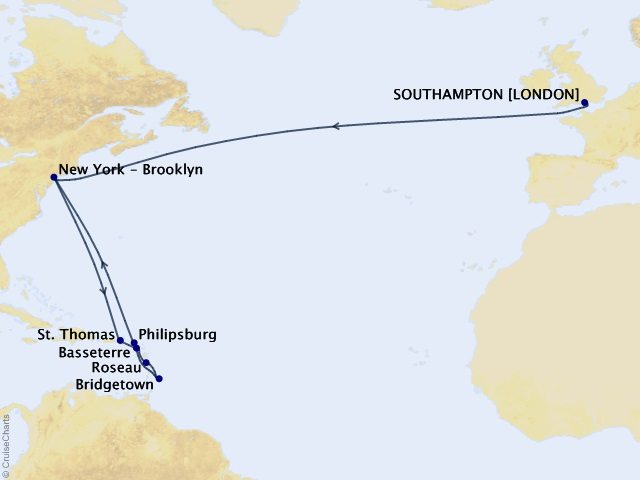 19-night Transatlantic Crossing and Caribbean Celebration Cruise Map