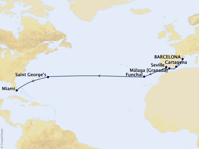 15-night Atlantic Soiree Voyage Map