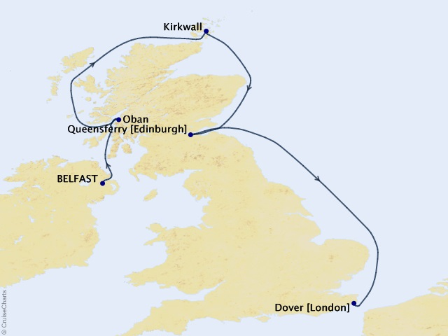 7-night Celtic Discovery Cruise Map