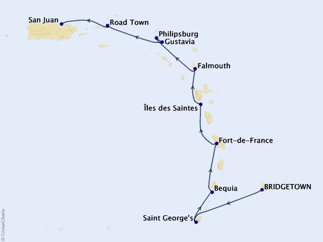 10-night Caribbean Cruise Map