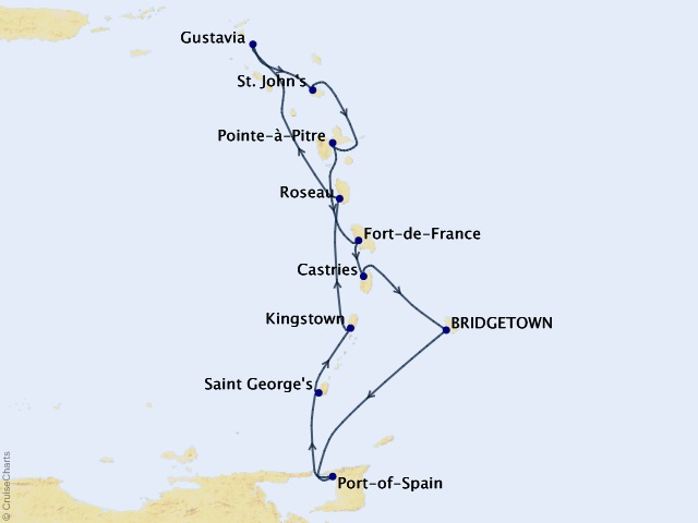10-night Tropical Romance Cruise Map