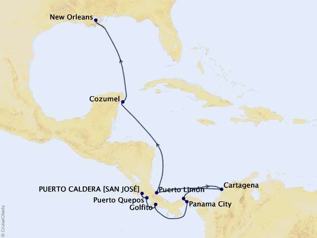 14-night Costa Rica and the Panama Canal Cruise Map